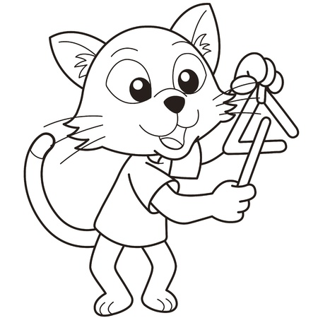 gato jugando: Gato de la historieta que juega un triángulo negro y blanco