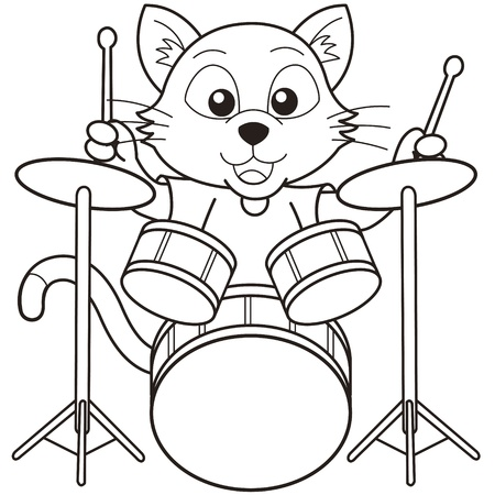 Cartoon cat playing drums black and white Vector