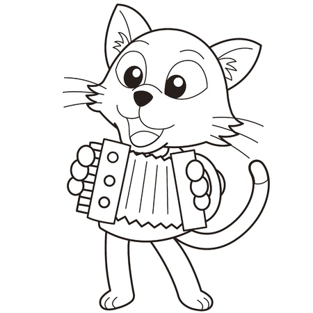 cartoon cat playing an Accordion black and white Vector