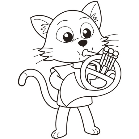 french horn: Cartoon cat playing a French horn black and white