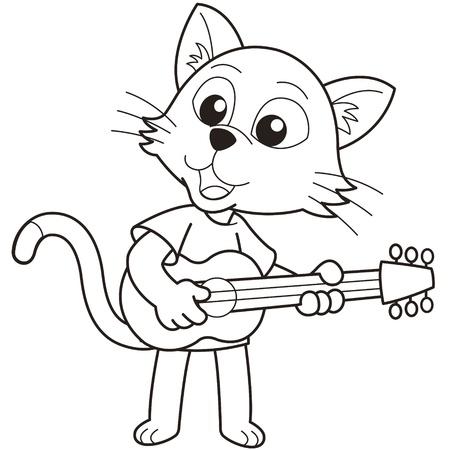 검은 색과 흰색 기타를 연주 만화 고양이