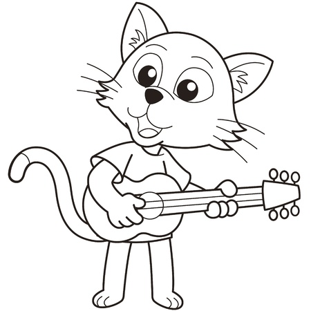 Cartoon cat playing a guitar black and white