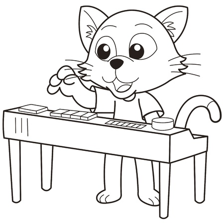 Cartoon cat playing an electronic organ black and white Stock Vector - 18526764