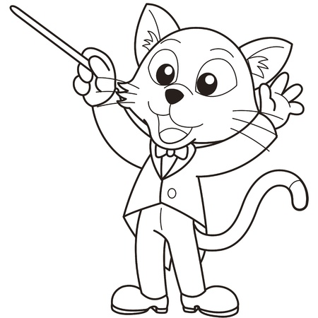 Cartoon cat music conductor black and white Vector