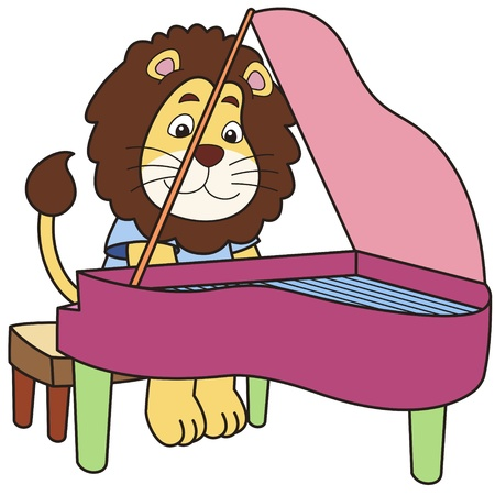 pianist: Cartoon lion playing a piano  Illustration