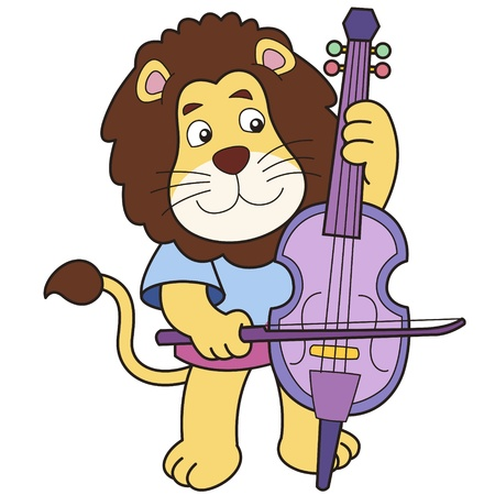 Cartoon lion playing a cello