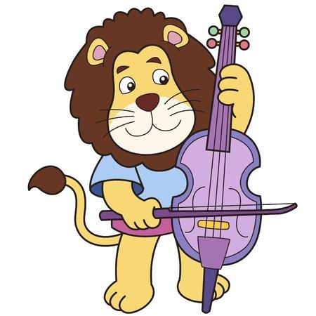cellos: Cartoon lion playing a cello  Illustration