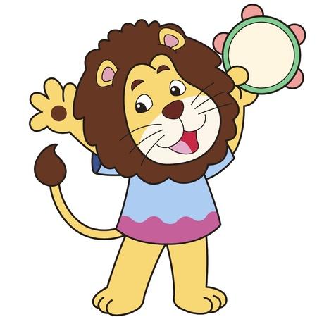 smirking: Cartoon lion playing a tambourine  Illustration