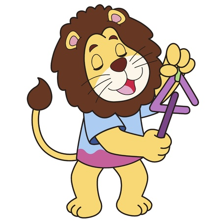 Cartoon lion playing a triangle  Vector