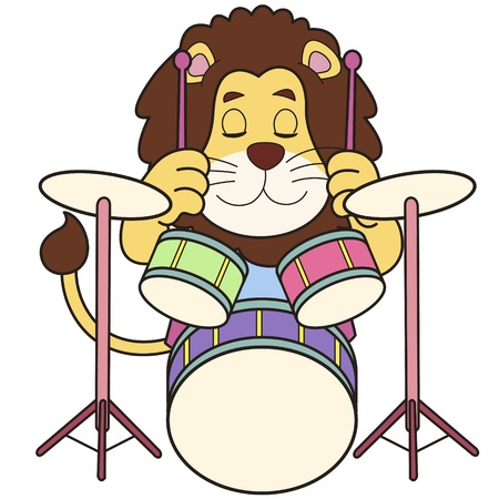 percussionist: Cartoon lion playing drums  Illustration