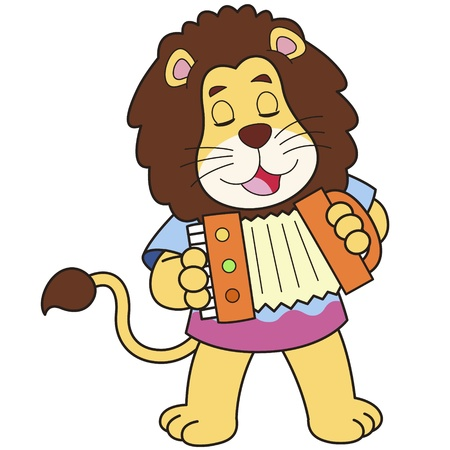 Cartoon Lion Playing an Accordion Stock Vector - 18526797