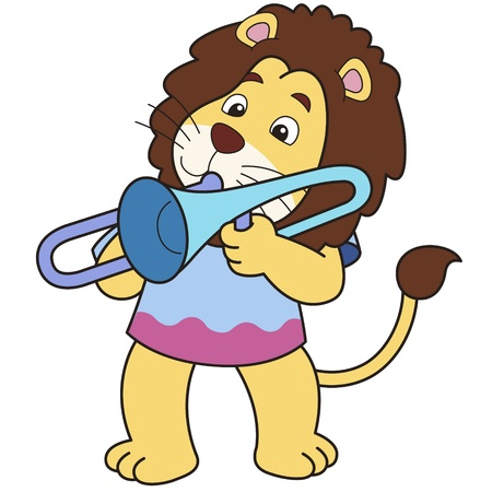 Cartoon lion playing a trombone Stock Vector - 18526695