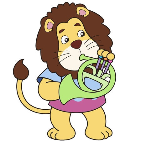 french horn: Cartoon lion playing a French horn
