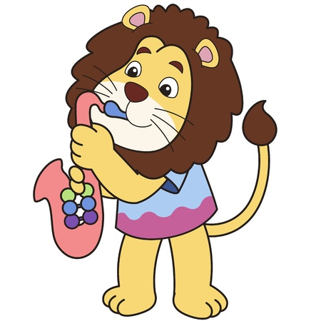 Cartoon lion playing a saxophone  Vector