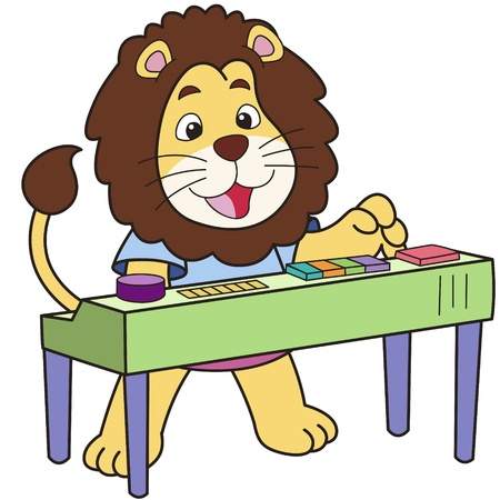 Cartoon lion playing an electronic organ  Vector