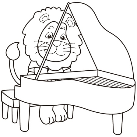 Cartoon lion playing a piano black and white Vector