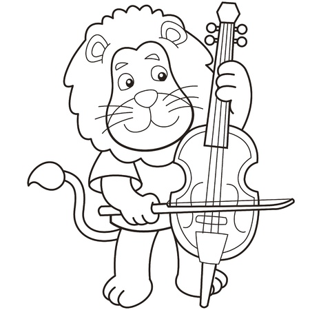 violoncello: Cartoon lion playing a cello black and white Illustration