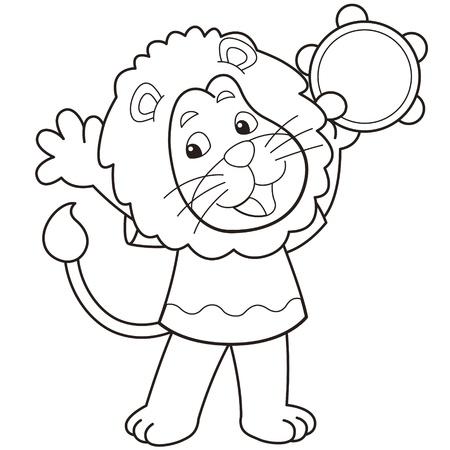 pandero: Cartoon león jugando un negro pandereta y negro