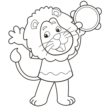 Cartoon lion playing a tambourine black and white Stock Vector - 18526750