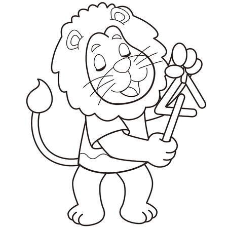 Cartoon lion playing a triangle black and white Stock Vector - 18526723