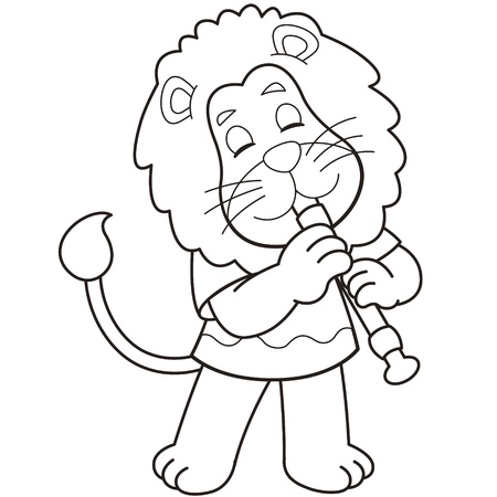 Cartoon lion playing an oboe black and white