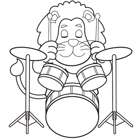 Cartoon lion playing drums black and white Vector