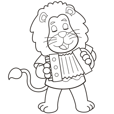 cartoon lion playing an Accordion black and white Vector