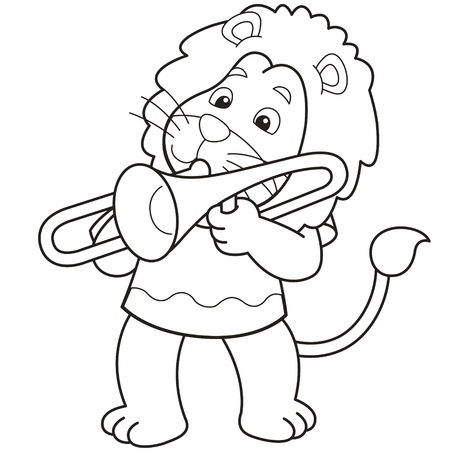 Cartoon lion playing a trombone black and white Vector