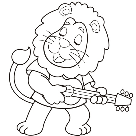 Cartoon lion playing a guitar black and white Stock Vector - 18526790