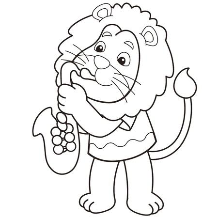 leon bebe: León de dibujos animados que toca un saxofón en blanco y negro