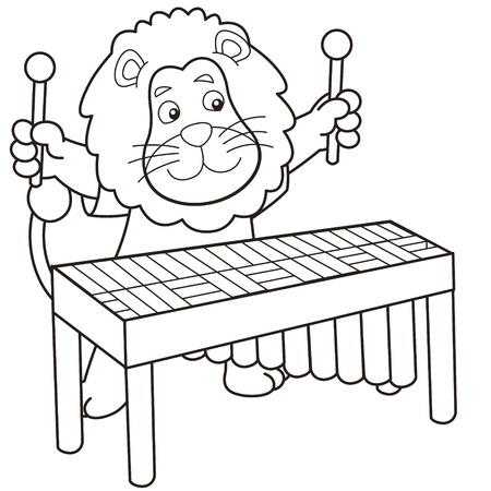 Cartoon lion playing a vibraphone black and white Stock Vector - 18526814