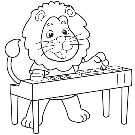 grinning: Cartoon lion playing an electronic organ black and white