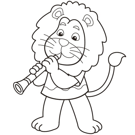clarinet player: Cartoon lion playing a clarinet black and white