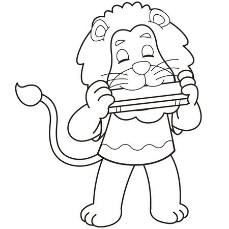 harmonica: Cartoon lion playing a harmonica black and white
