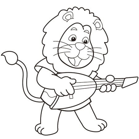 Cartoon lion playing an electric guitar black and white Stock Vector - 18526763