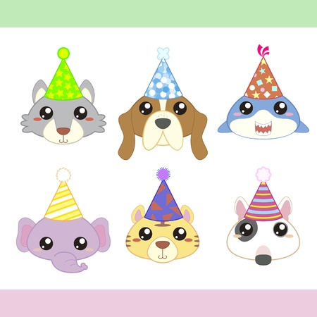 dog shark: cartoon party animal icons collection