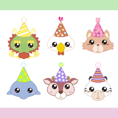 party hats: cartoon party animal icons collection