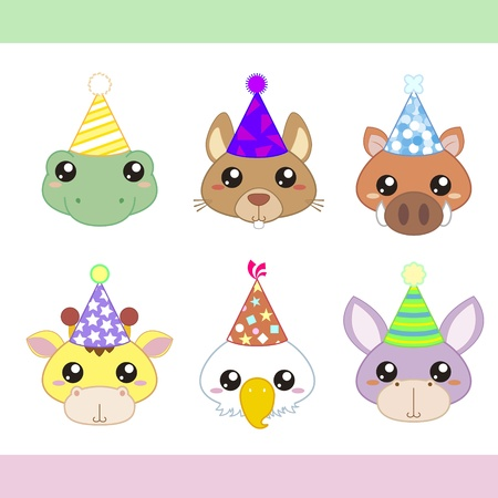 cartoon party animal icons collection Stock Vector - 18562864