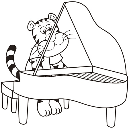 piano player: Cartoon tiger playing a piano