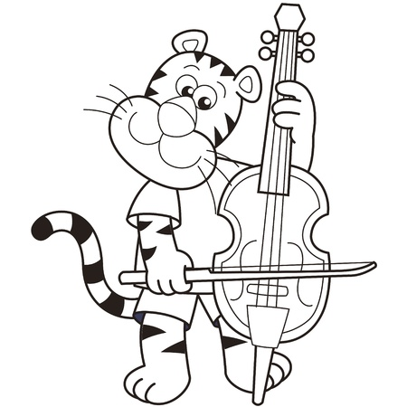 cellist: Cartoon tiger playing a cello