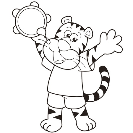 Cartoon tiger playing a tambourine  Vector