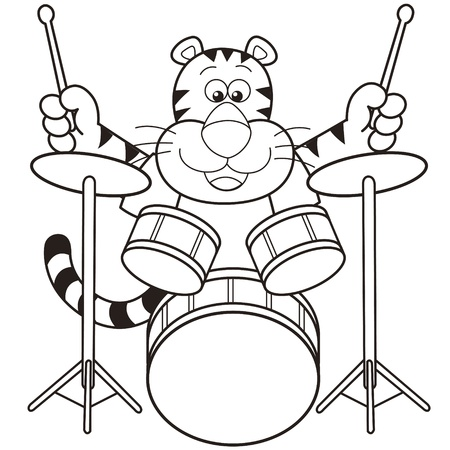 percussionist: Cartoon tiger playing drums  Illustration