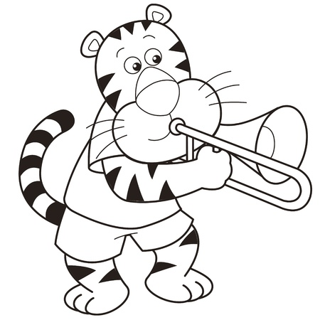 Cartoon tiger playing a trombone  Vector