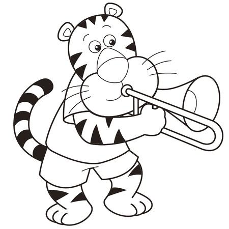 trombon: Cartoon tigre tocando un trombón