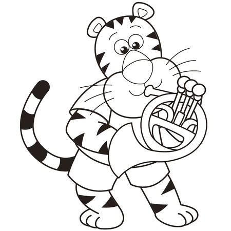 Cartoon tiger playing a French horn  Vector
