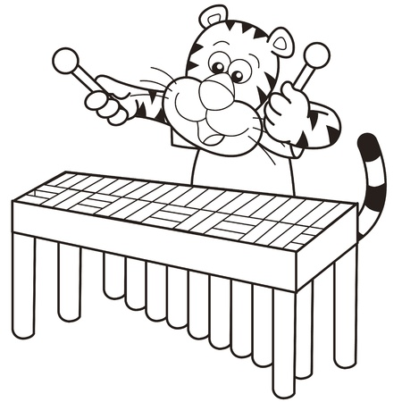 Cartoon tiger playing a vibraphone  Vector