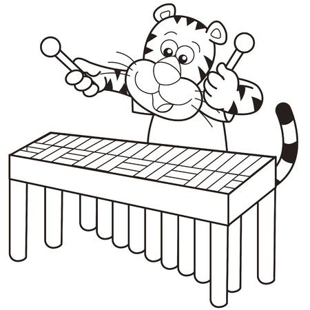 tigre bebe: Cartoon tigre jugando un vibráfono Vectores