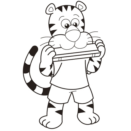 Cartoon tiger playing a harmonica  Vector