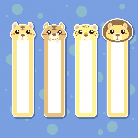 Four animal bookmarks for children, colorful Vector
