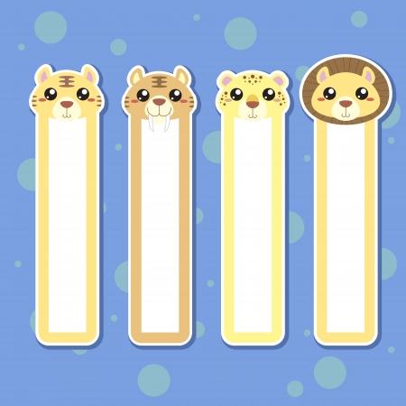 Quatre signets d'animaux pour enfants, coloré
